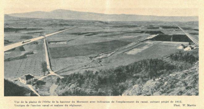 Sur la base d'une photo de 1912, on imaginait le futur canal du Rhône au Rhin.